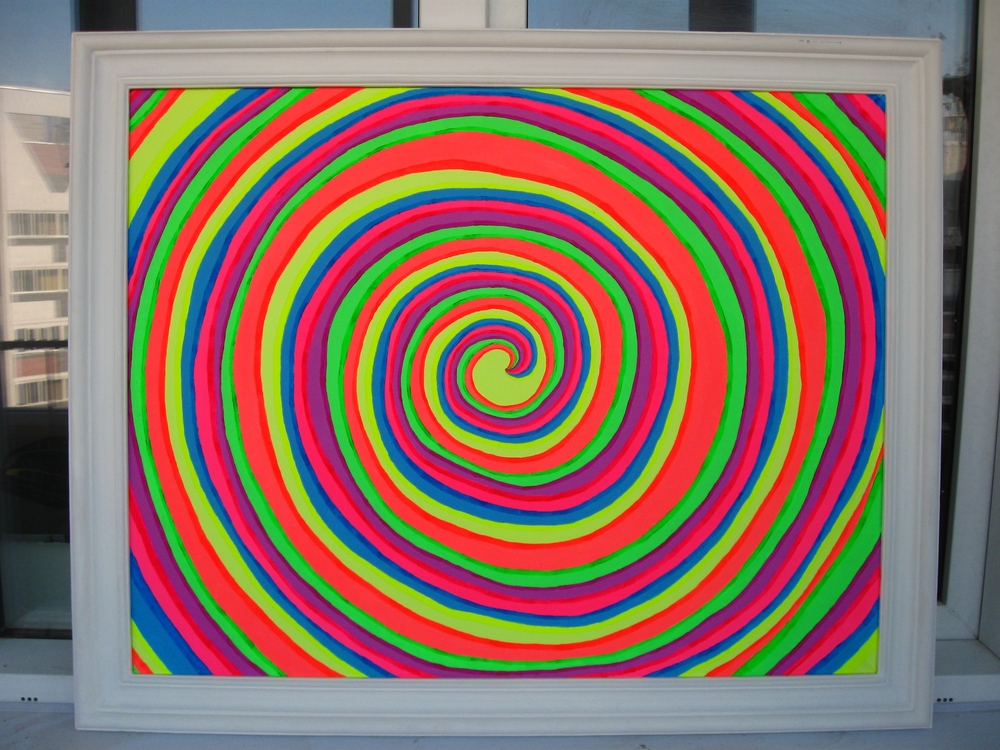 The spiral is painted on canvas with fluorescent paints.