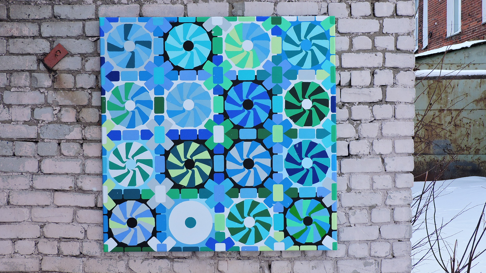 Interior painting, geometric pattern made in shades of green and blue