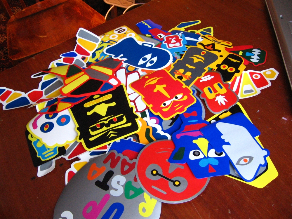 Stickers are cut by hand, a huge amount has been made.