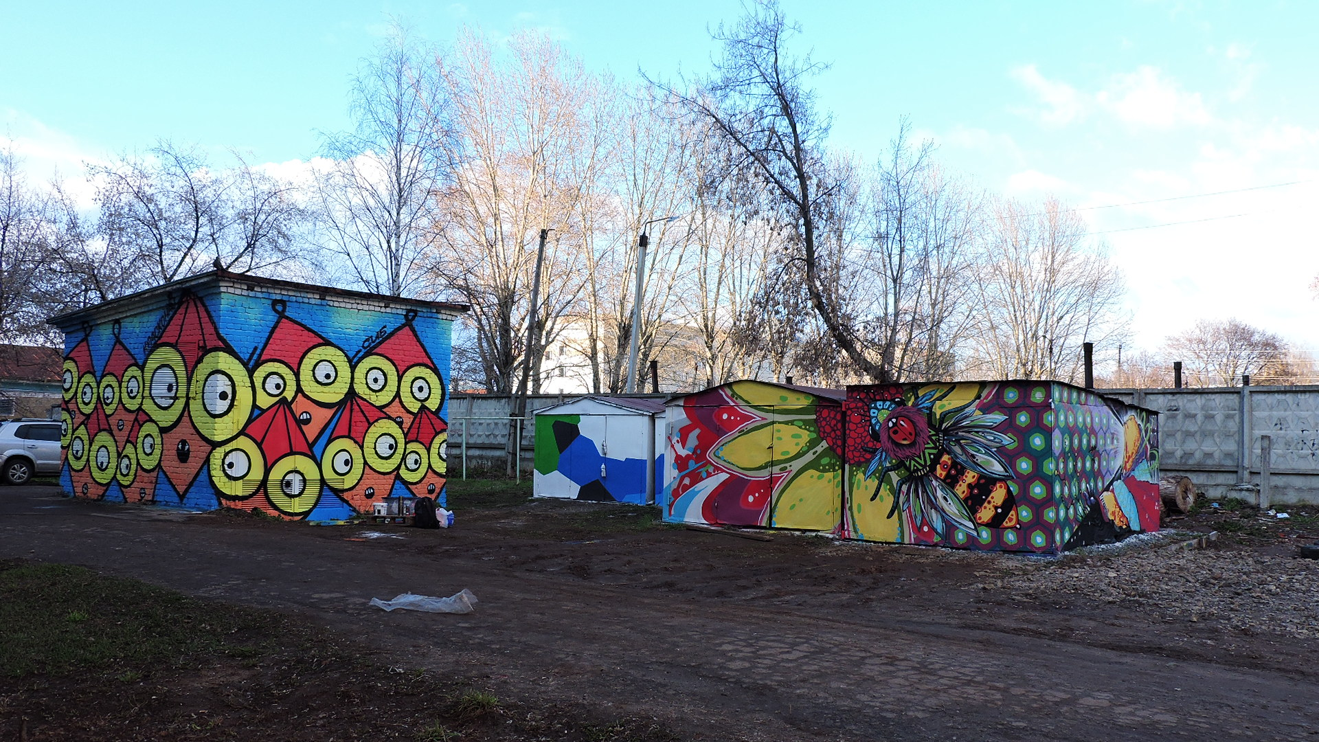 Painted garages and brick substation in Kirov.